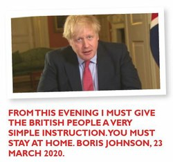 From this evening I must give the British people a very simple instruction. You must stay at home. Boris Johnson, 23 March 2020