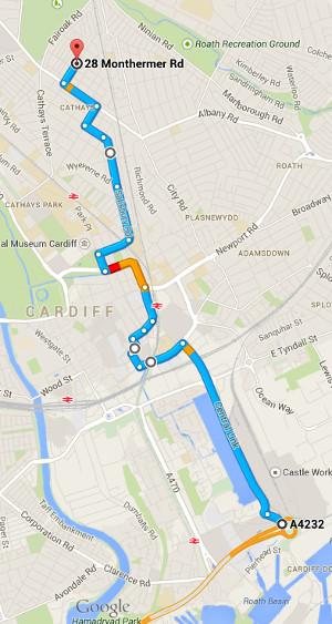 Route to Monthermer Road avoiding Half-Marathon