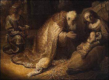Rembrandt Adoration Wisemen Detail